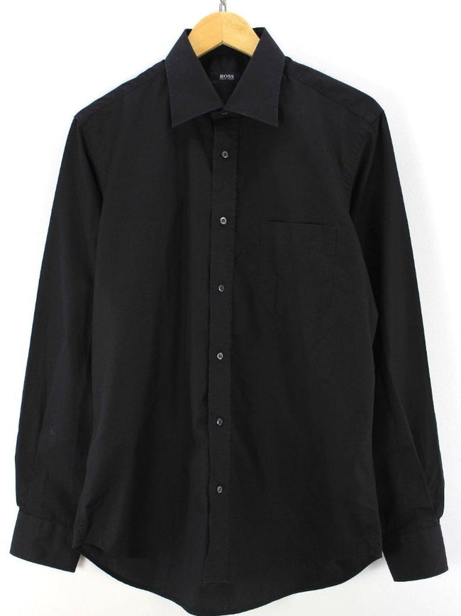 HUGO BOSS mens black dress shirt Size 40 15 3/4, cotton M Longsleeve shirt, Formal Shirt, HUGO BOSS, - Top-Garms