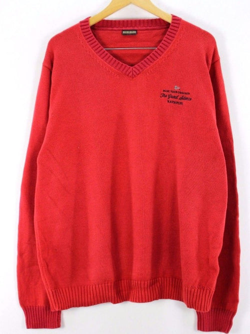 Napapijri Mens Jumper Sweater, Size 3XL, Red, V Neck, Cotton, Top Quality