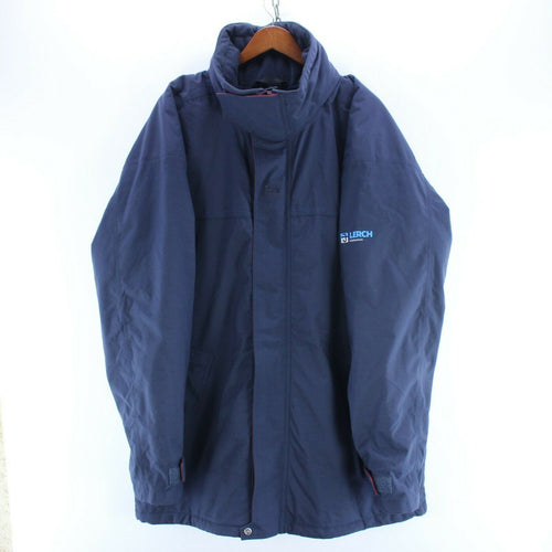 Vintage Helly Hansen Men's Coat in Blue Size 2XL Very Warm Rain Jacket with Hood