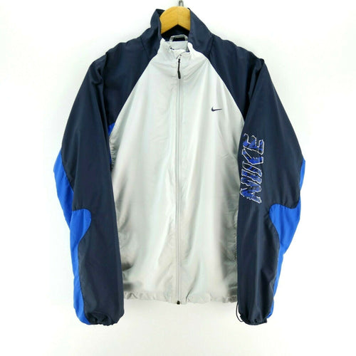 Vintage Nike Men's Track Jacket in Grey/Blue Size S Long Sleeve Full Zip