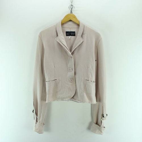 ARMANI Women's Jacket Size 3XL Light Pink Stylish Button-Front Cotton