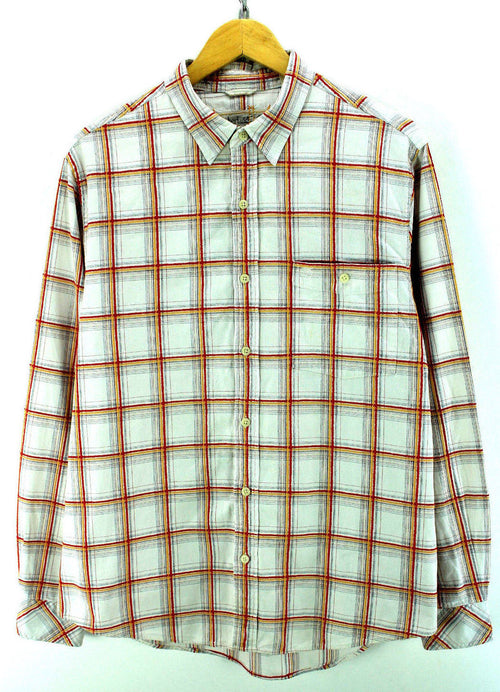 Timberland Men's Shirt Size L Ivory Checkered Long Sleeve Cotton Casual