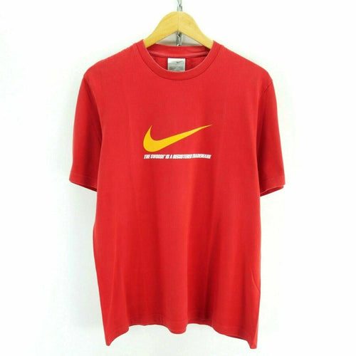 Nike Men's T-Shirt Size L in Red Short Sleeve Big Logo Cotton Tee EF4878