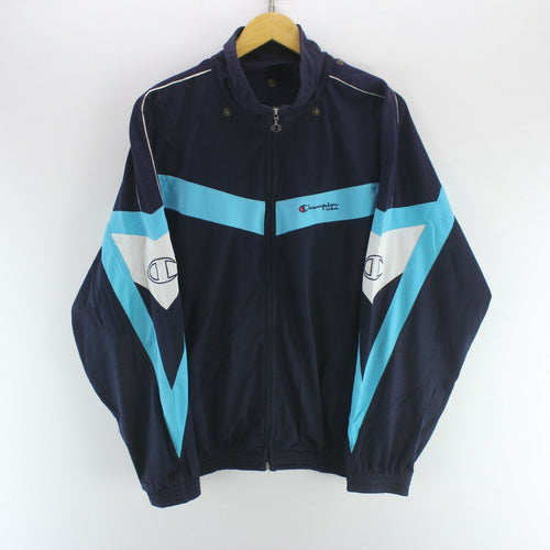 Vintage Champion Men's Track Jacket in Blue Size L Long Sleeve Zipped