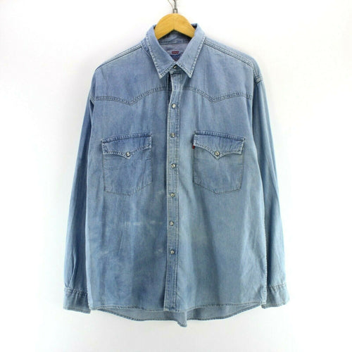 Vintage Levi's Men's Denim Shirt Light Blue Size XL Western Shirt