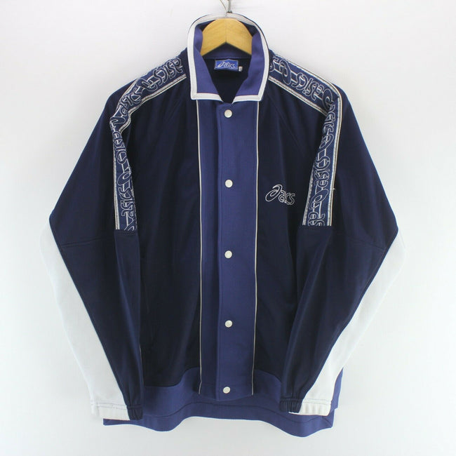 Vintage ASICS Mens Track Jacket Blue Size S Long Sleeve Arm Tape Big Logo EF5731, Tracksuit, asics, - Top-Garms