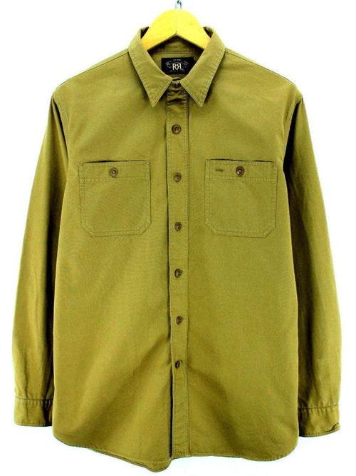RRL Ralph Lauren Shirt Size M Brown Beige Long Sleeve Thick Shirt