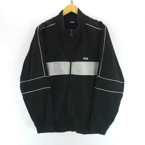 Vintage Men's FILA Track Jacket in Black Size XL Long Sleeve Full Zip