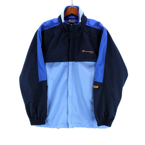 Vintage Champion Men's Track Jacket Size S Full-Zip Track Top in Blue