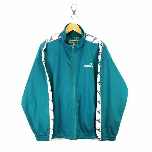 Vintage Diadora Men's Track Jacket in Green Size XL