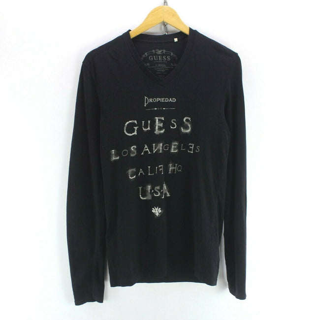 Vintage Men's Guess Men's T-Shirt Black Size XS Long Sleeve Graphic Tee, T-shirt, Guess, - Top-Garms