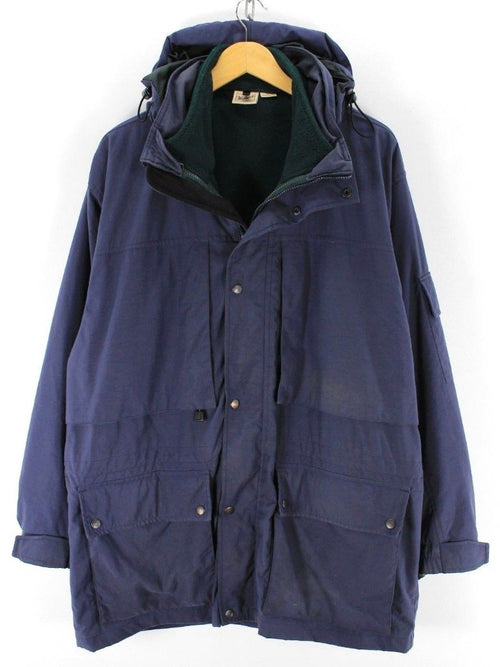 Great Mens Woolrich Parka, Size L, Navy Outdoor Coat Removable liner