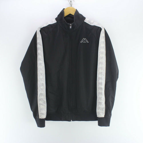 Vintage Men's Kappa Track Jacket Black Size L Long Sleeve Arm Tape Logo