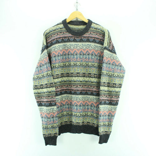Vintage Men's Nordic Christmas Pattern Wool Sweater Size L
