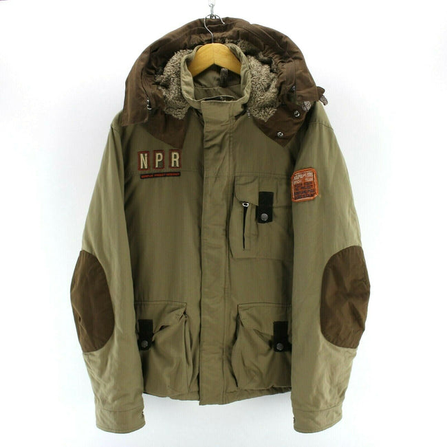 Vintage Superb Napapijri Men's Jacket Size M Khaki Official Team Hooded Coat, Coat's & Jacket's, Napapijri, - Top-Garms