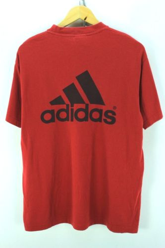 Adidas Men's T-Shirt Size L Red Short Sleeve Cotton Tee EF2599