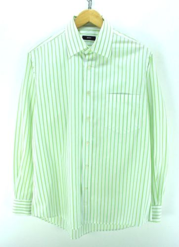 HUGO BOSS Men's Shirt Size 41-16 L Multi Color Striped Long Sleeve Cotton CD1520