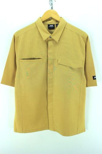 Helly Hansen Men's Shirt Size M Yellow Checkered Short Sleeve Cotton CD1525