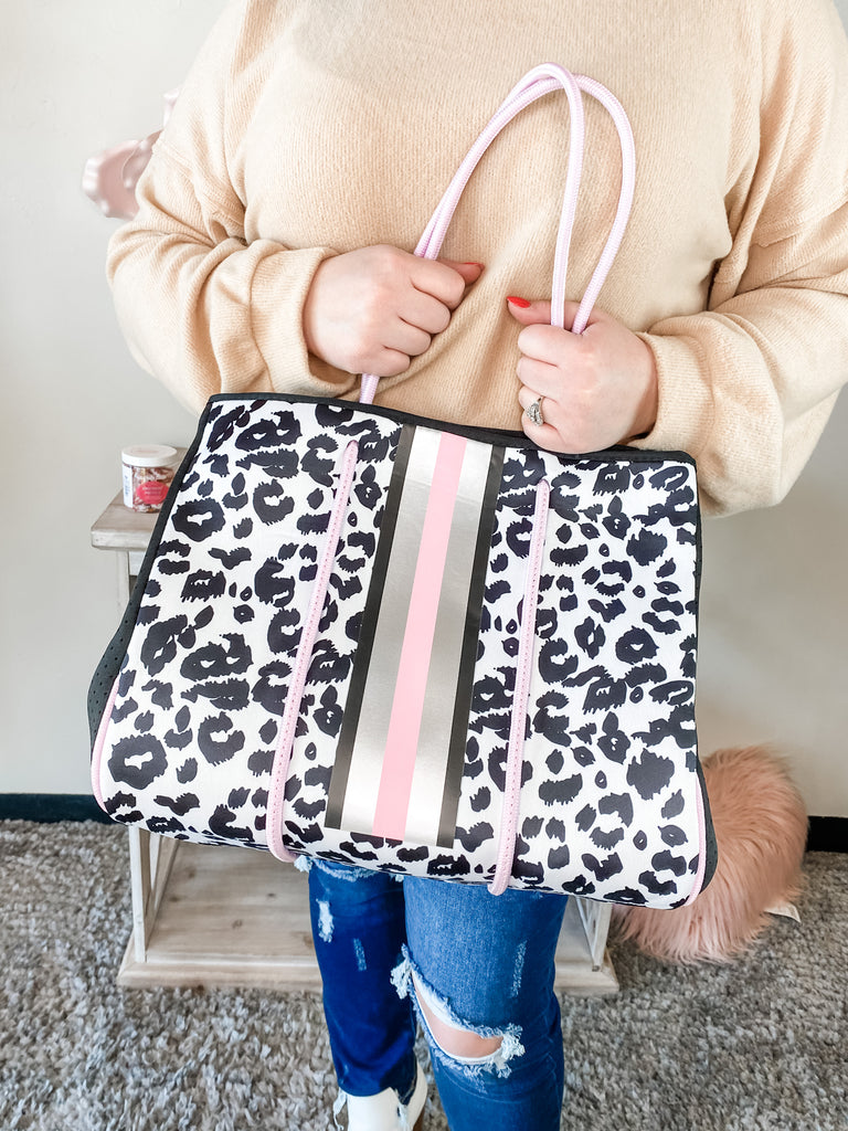 Pink Leopard Neoprene Bag