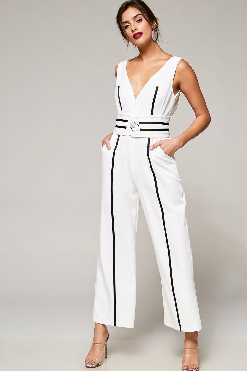 Cash Only Belted Zip-Front Jumpsuit - Geegeebae