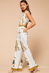 The Queen Baroque Print Rhinestone Jumpsuit
