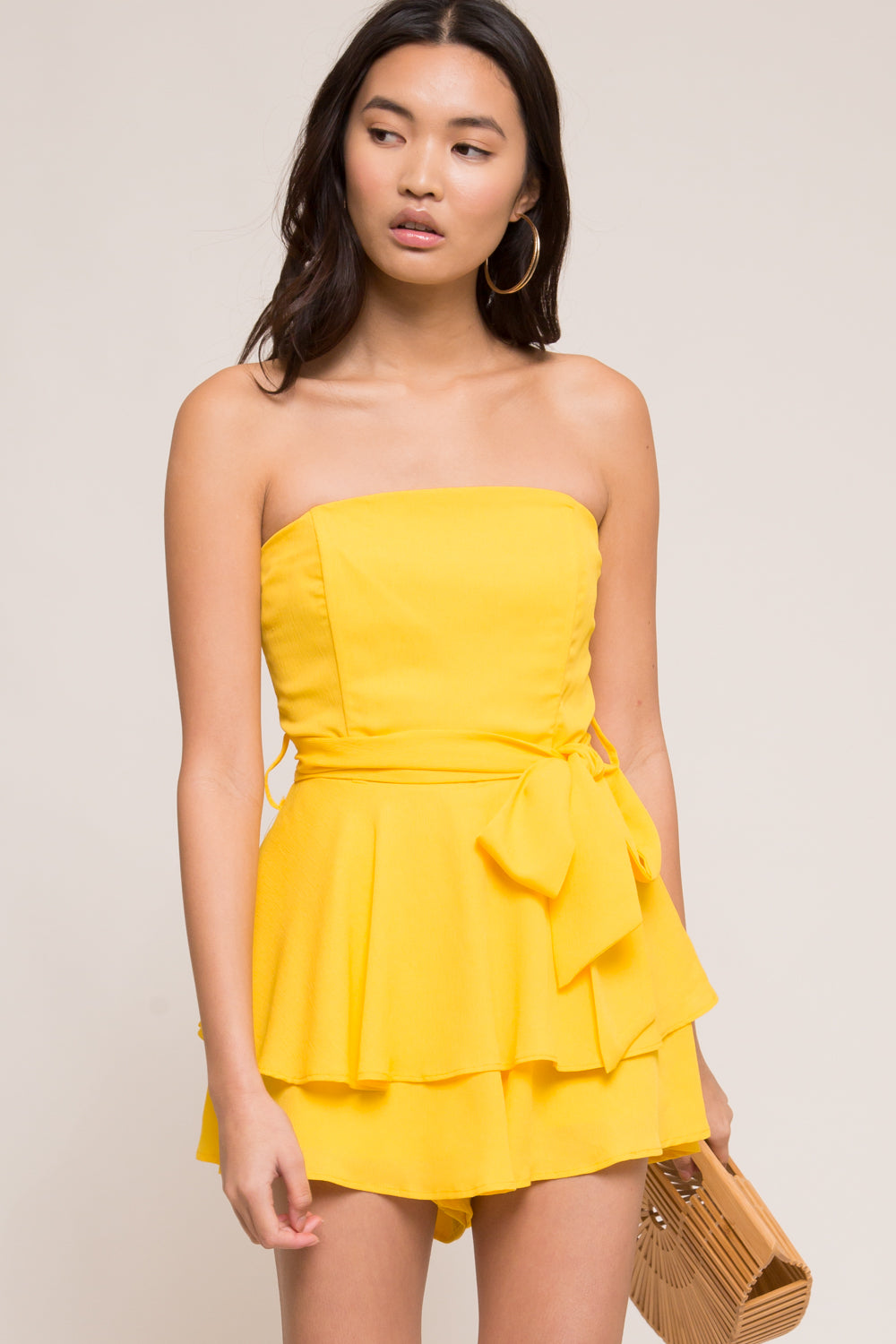 Come With Me Strapless Chiffon Romper - Geegeebae