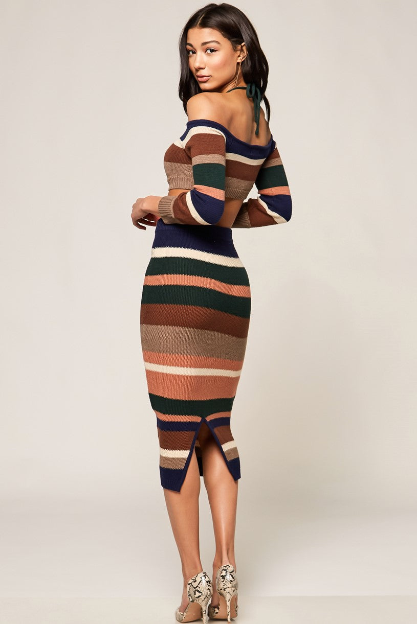 Kaia Stripe Sweater Skirt Set - Geegeebae