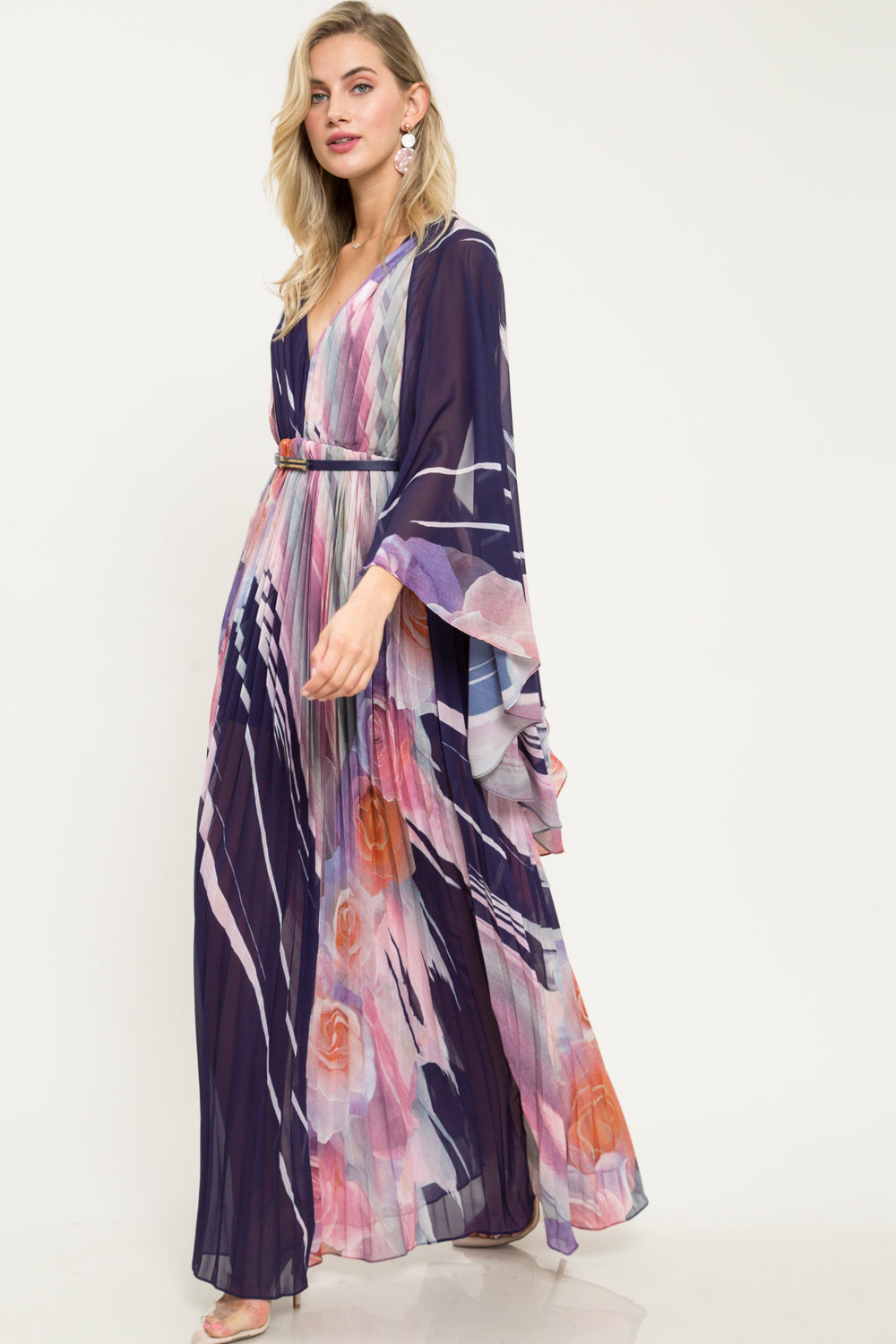 Rose Pleated Cape Sleeve Maxi Dress