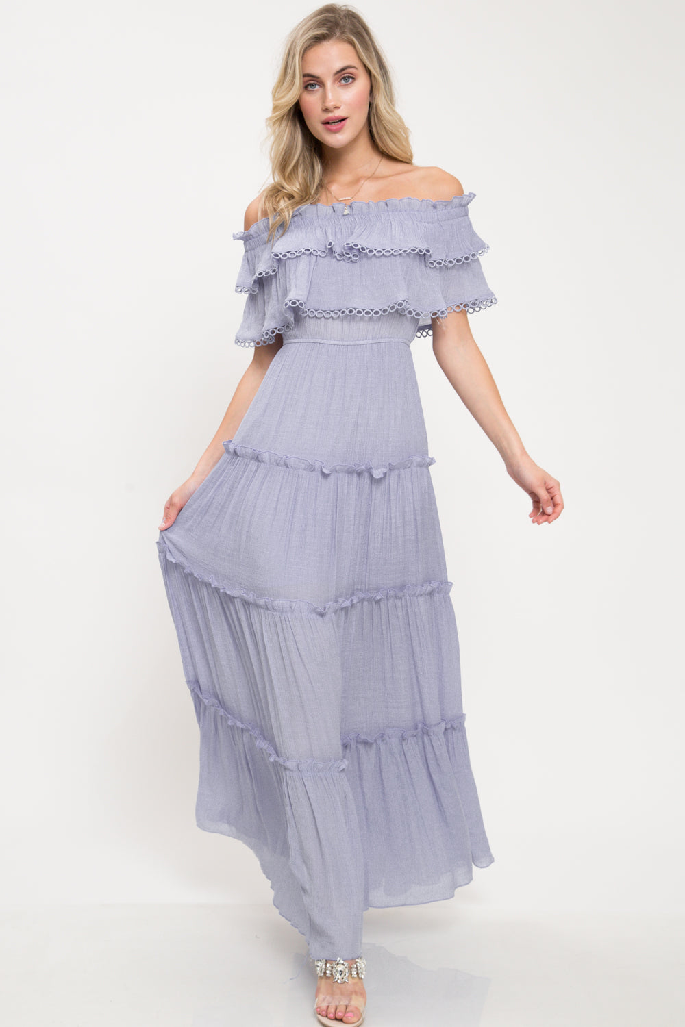 Angelina Off Shoulder Maxi Dress - Geegeebae