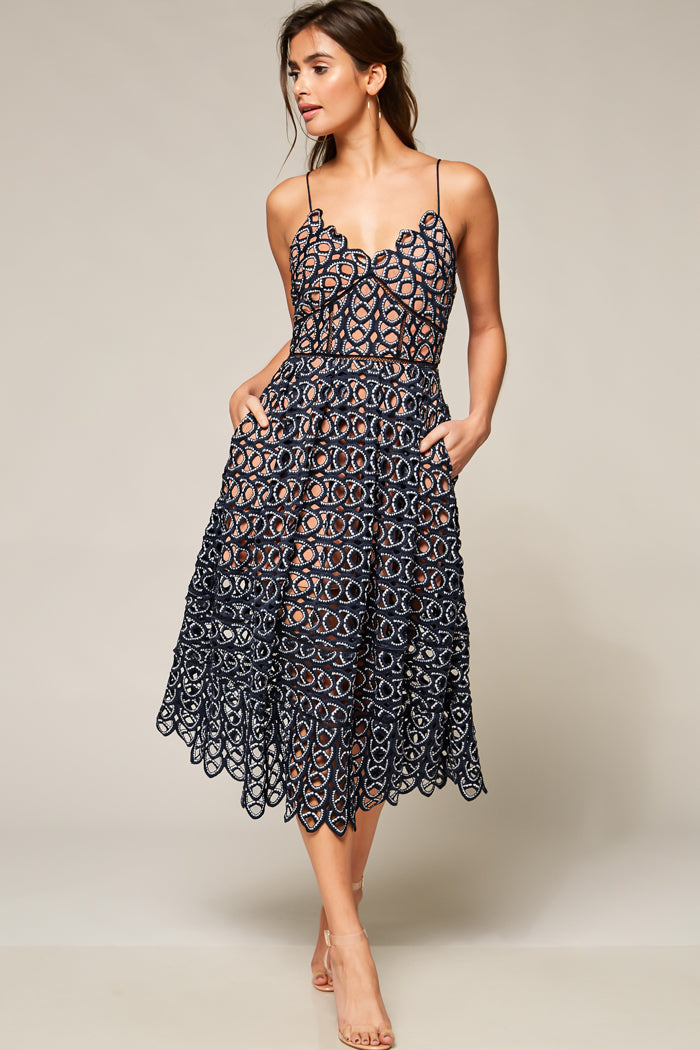 Royals Crochet Lace Midi Dress