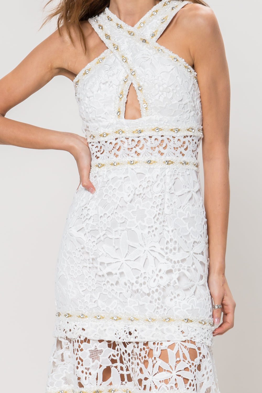 Snow White Crochet Lace Midi Dress