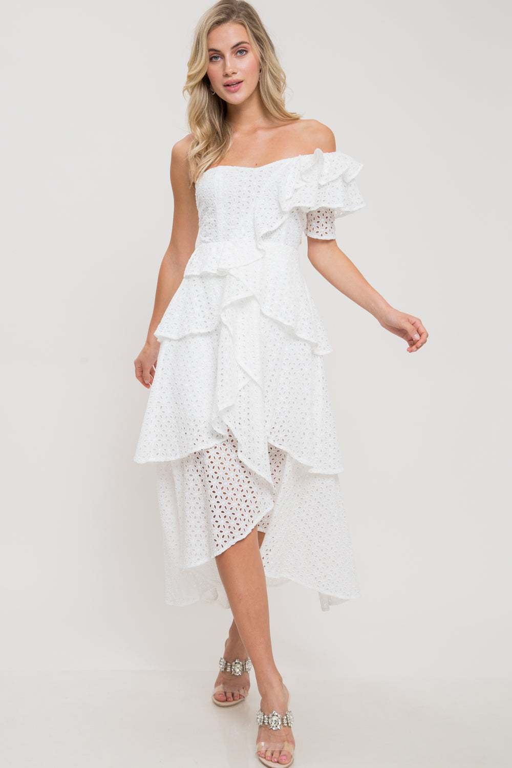 Purity Perforated One Shoulder Ruffle Dress