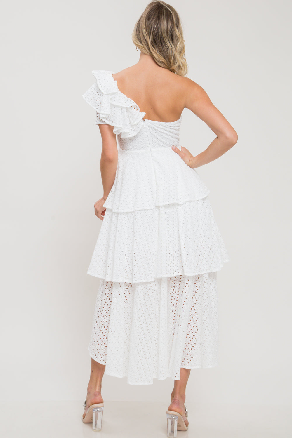 Purity Perforated One Shoulder Ruffle Dress - Geegeebae