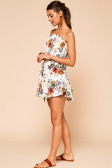 Taylor Strapless Floral Ruffle Mini Dress