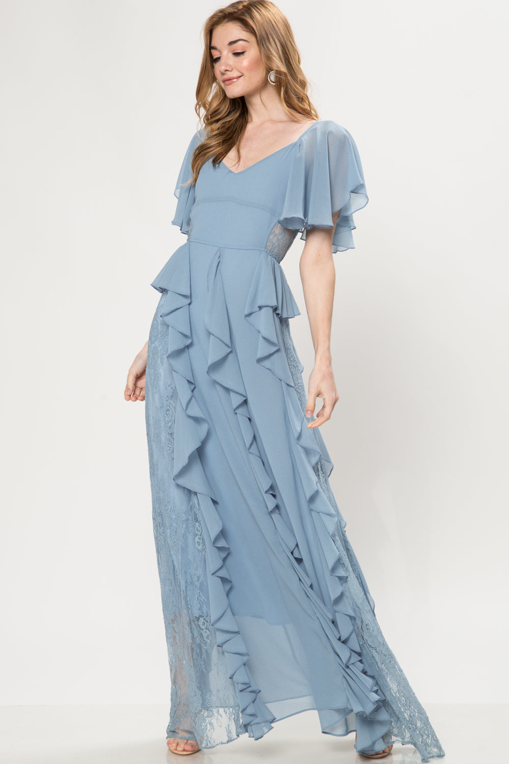 Claudia Short Sleeve Ruffle Maxi Dress - Geegeebae