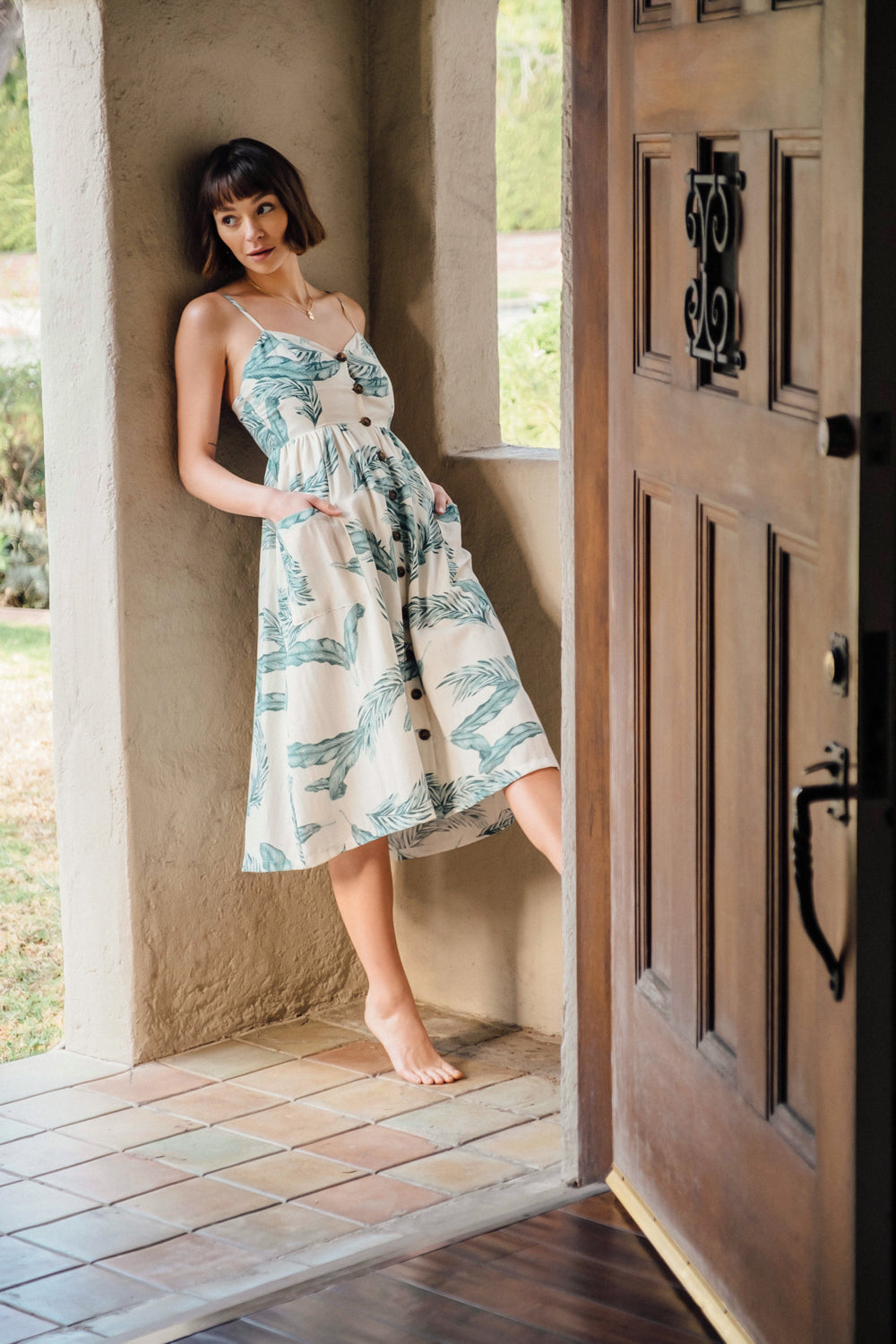 Mojito Tropical Button Down Linen Dress - Geegeebae