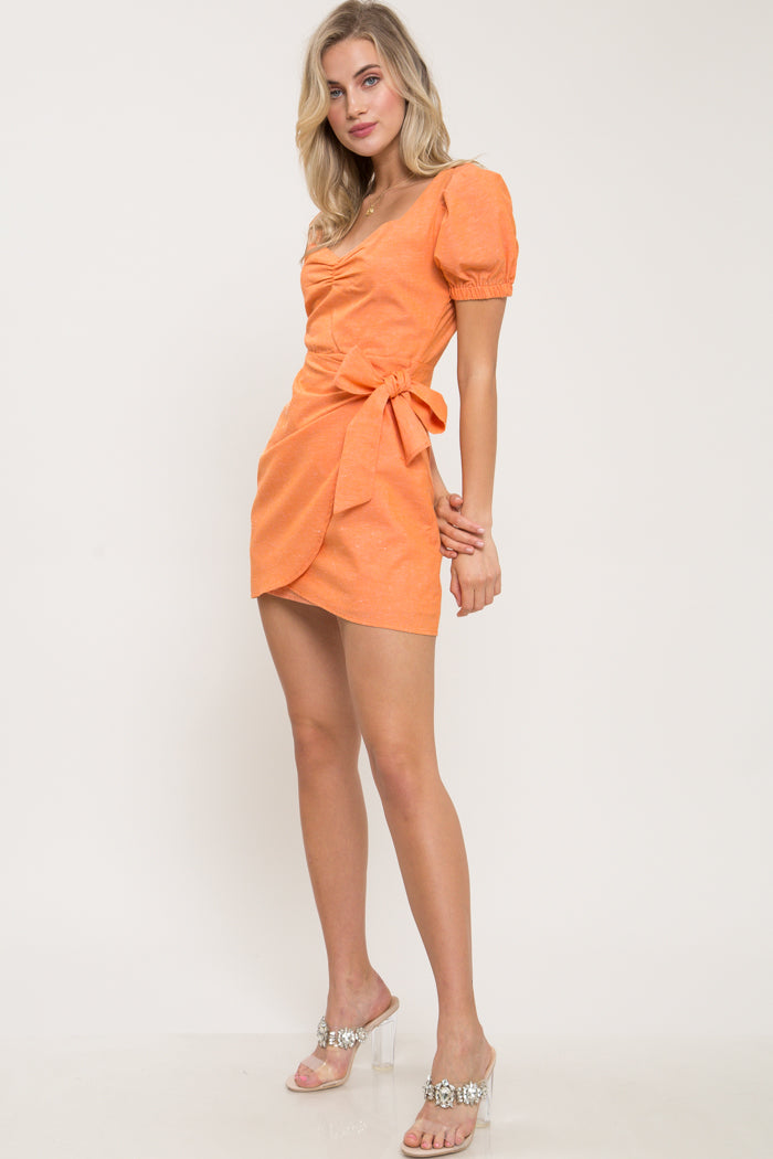 Orange And Cream Linen Faux-Wrap Mini Dress - Geegeebae
