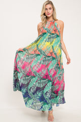 Tropical Heaven Pleated Maxi Dress