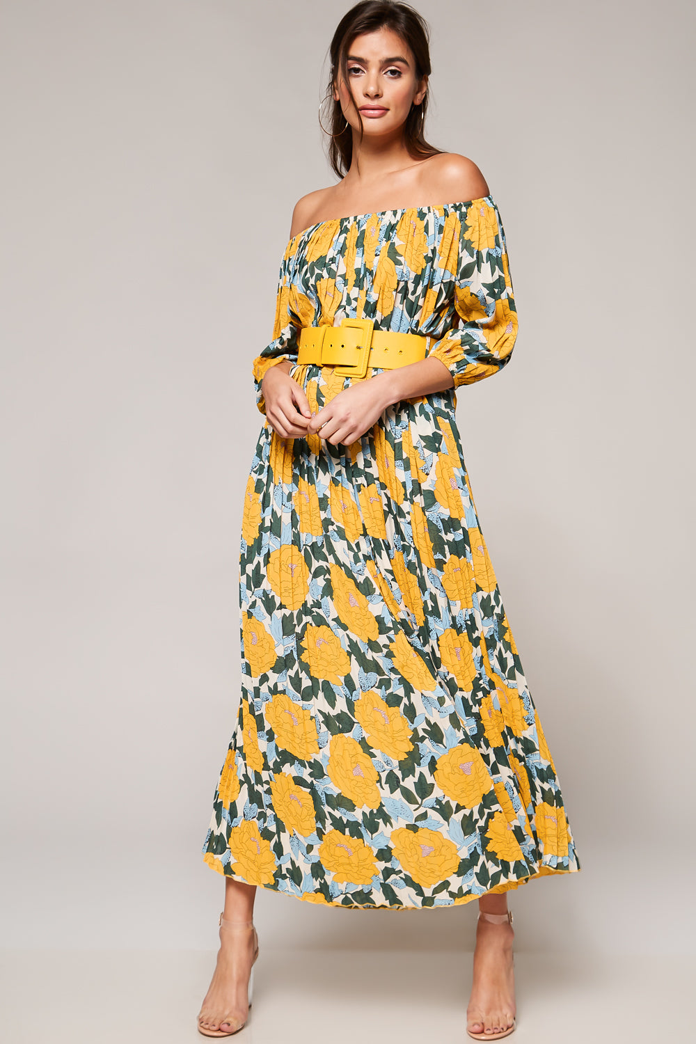 Chrysanthemum Pleated Off-Shoulder Maxi Dress - Geegeebae