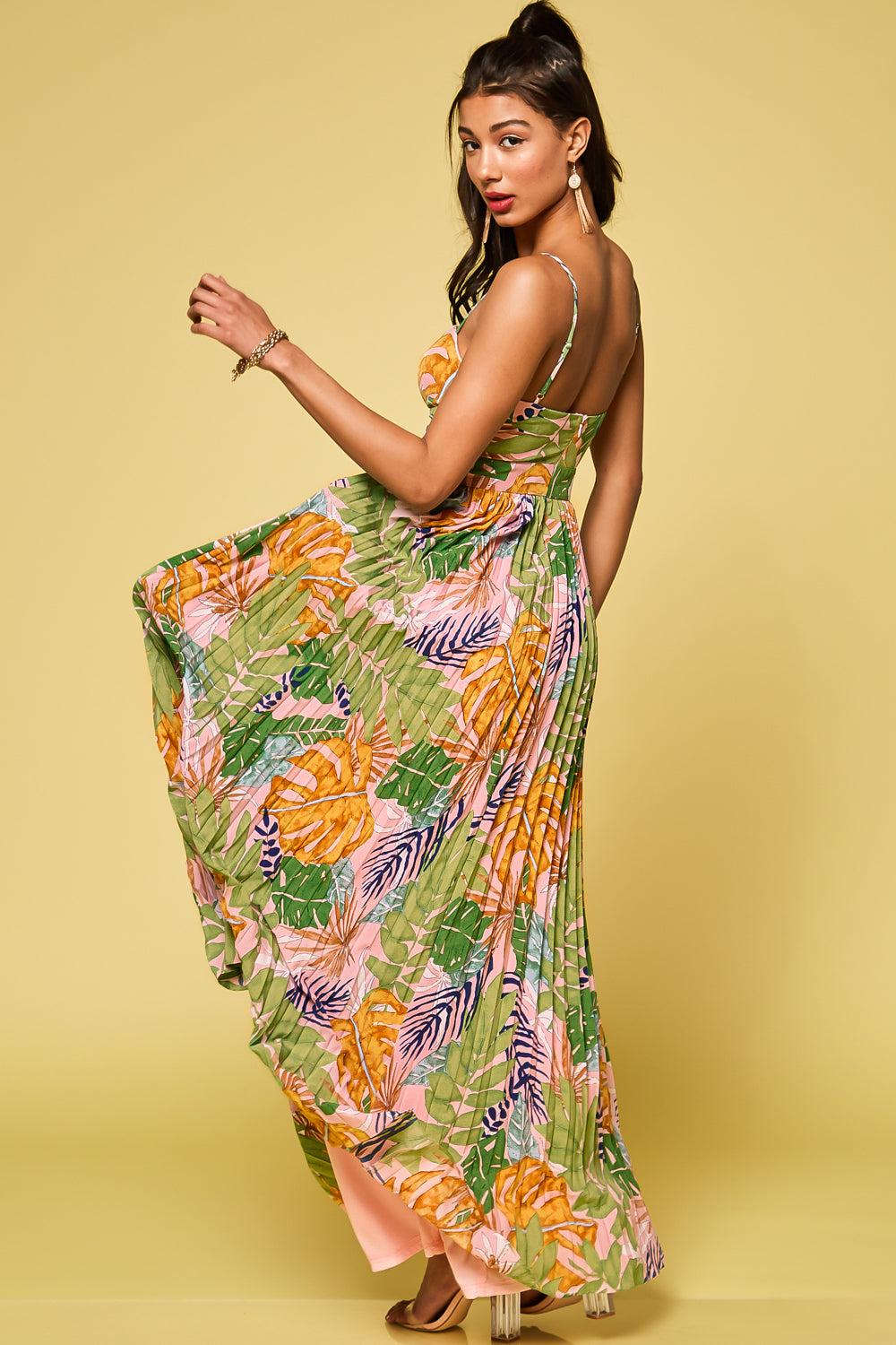 Make It Sweet Tropical Pleated Maxi Dress