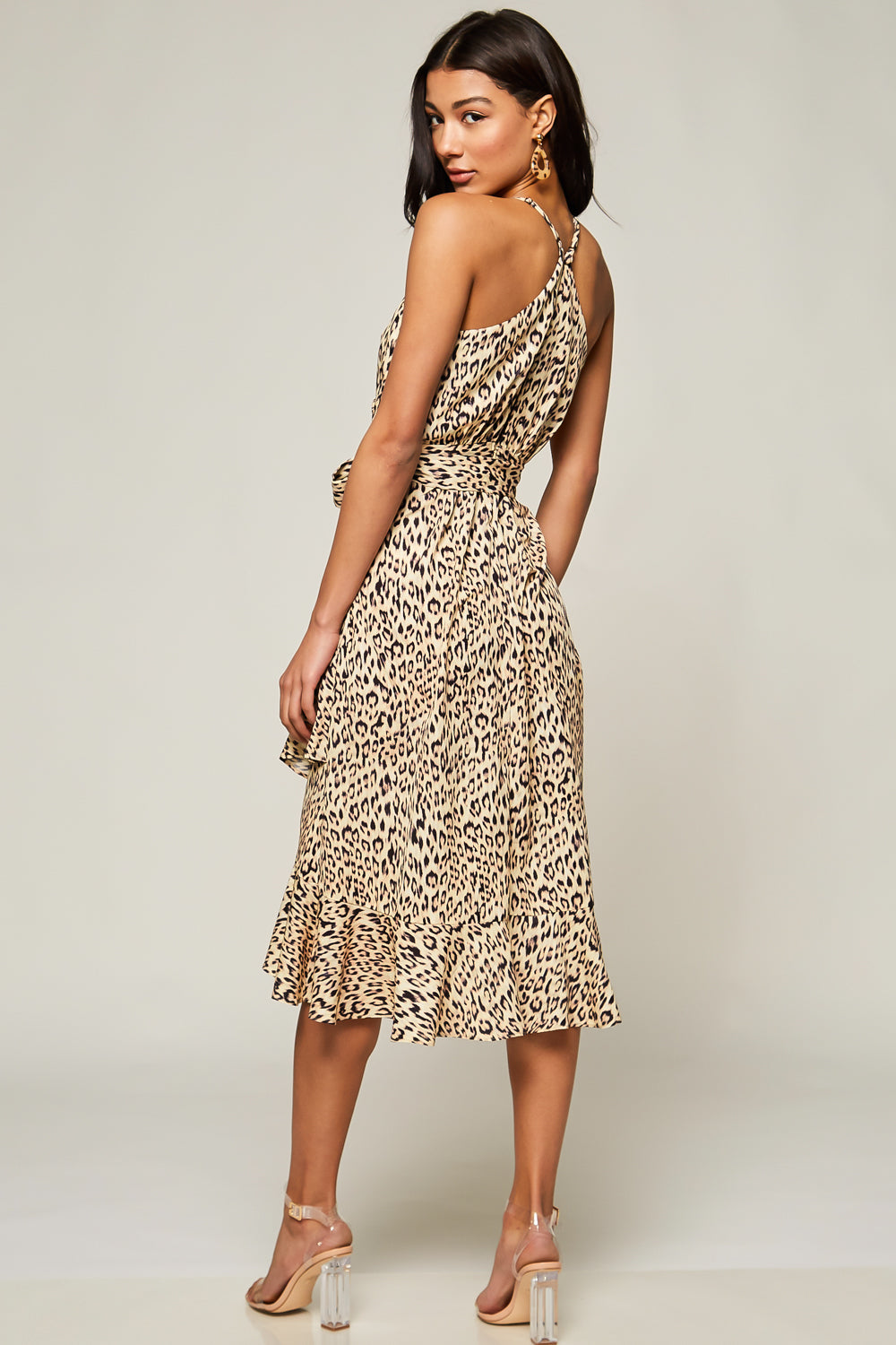 Wild At Heart Leopard Print Midi Dress