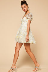 Fairy 3D Floral Puff Sleeve Mini Dress - Geegeebae