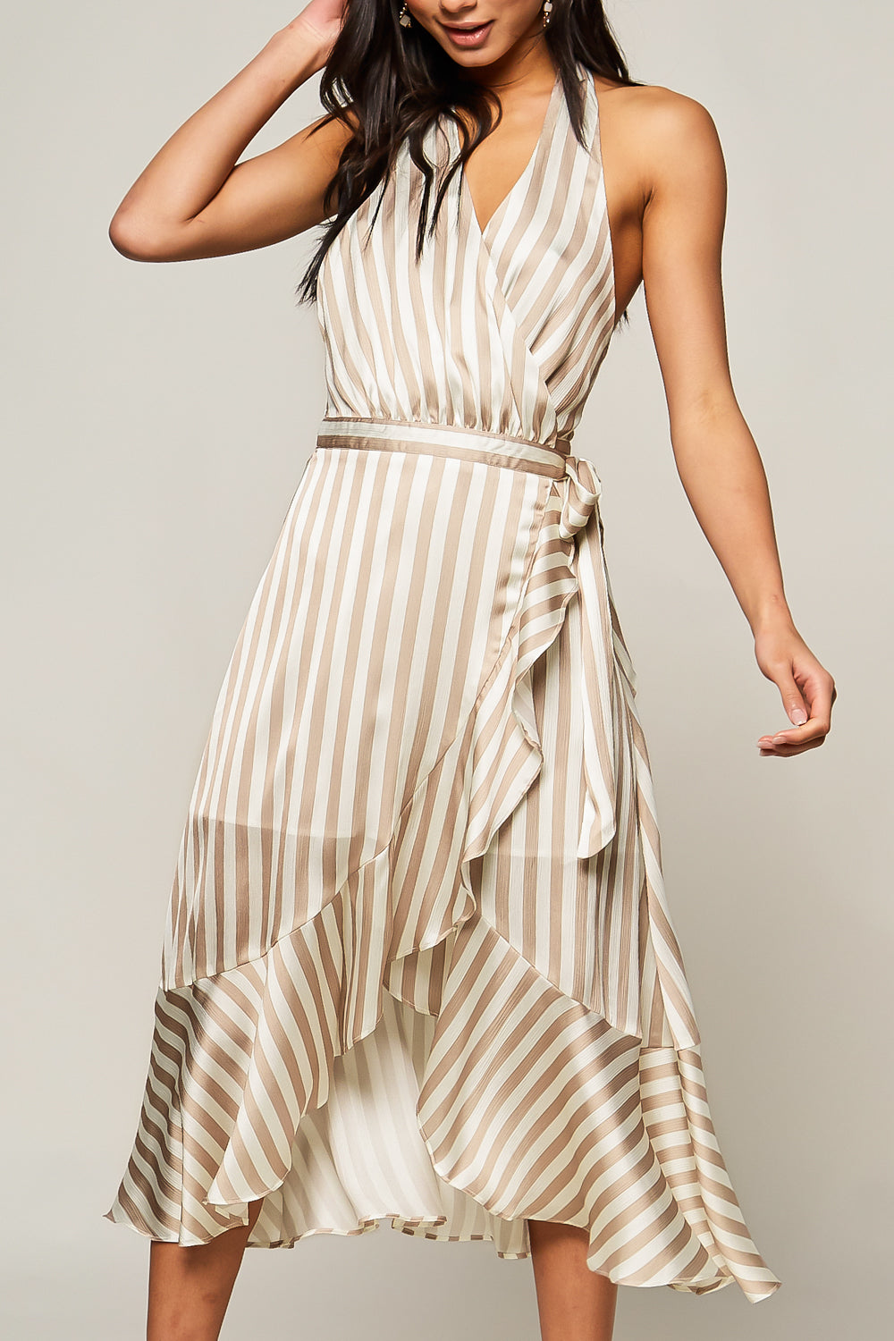 Lala Striped Satin Faux-Wrap Midi Dress - Geegeebae
