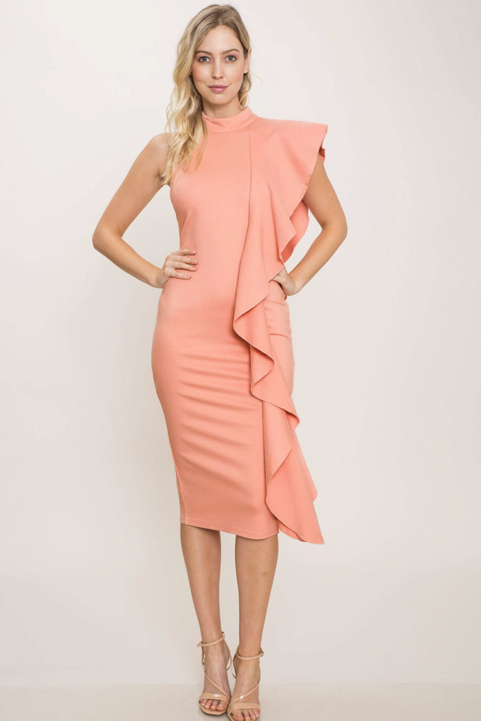 Valerie Bodycon Ruffle Midi Dress
