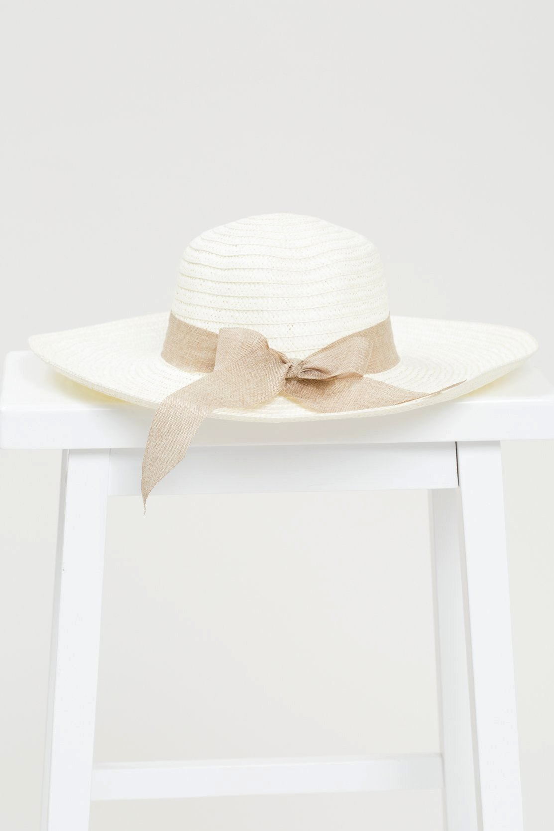 Straw Beach Hat with Ribbon