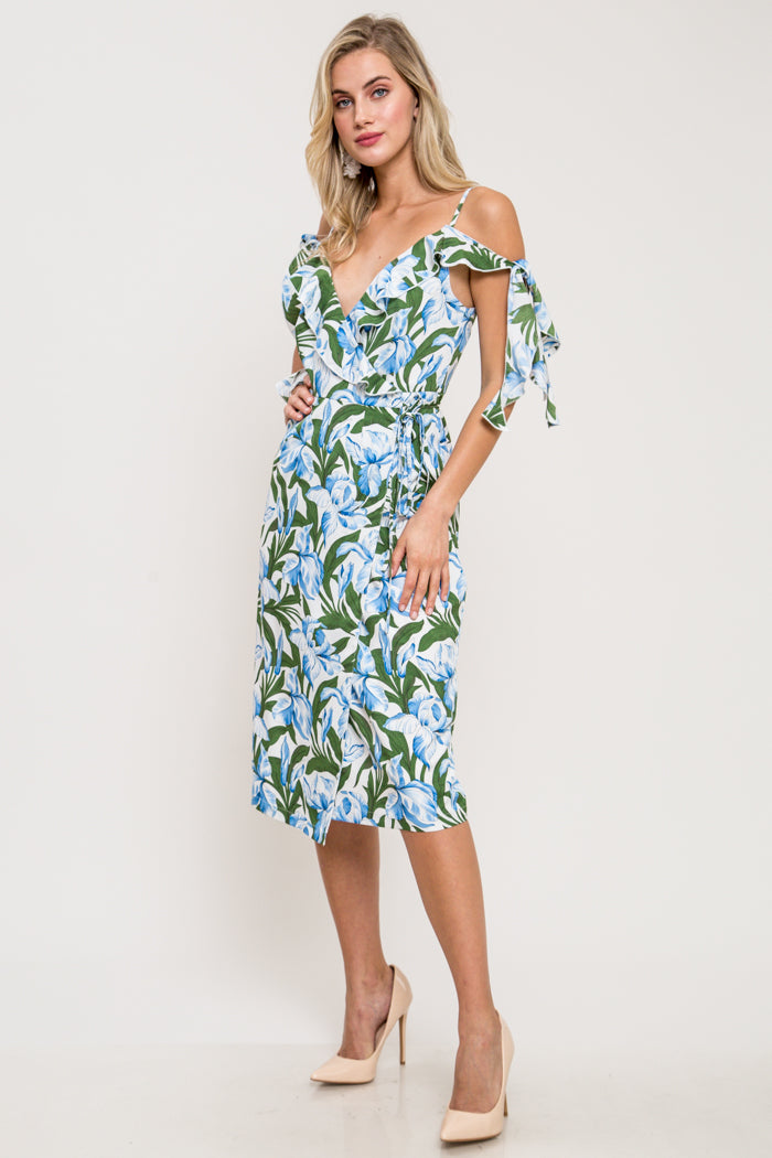 Abigale Floral Cold Shoulder Wrap Dress