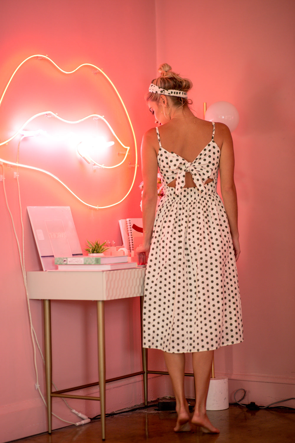 Lolita Polka Dot Midi Dress - Geegeebae