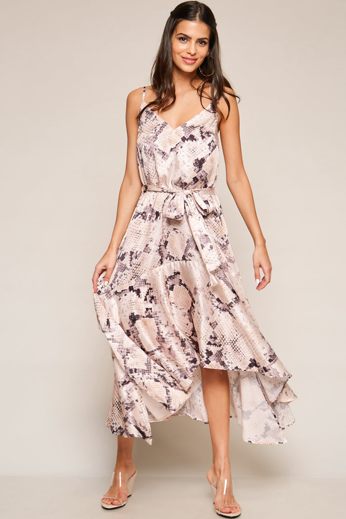 Snake Print High-Low Midi Dress