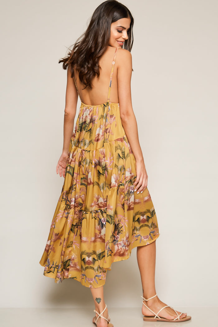 Summer Fling Tropical Midi Slip Dress