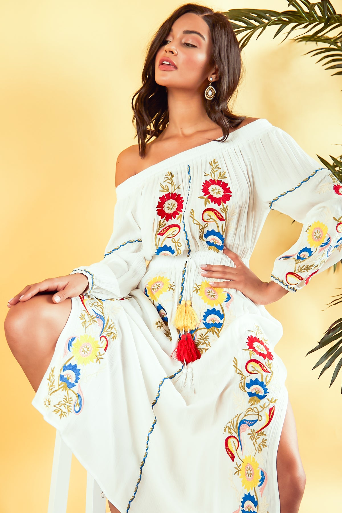 Belize Floral Embroidery Maxi Dress - Geegeebae